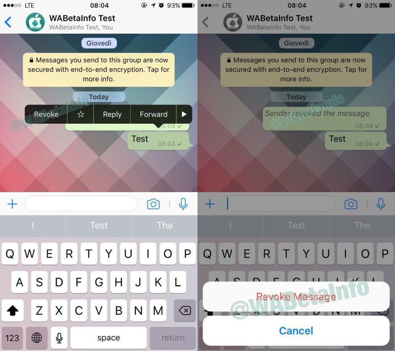 WhatsApp borrar mensaje