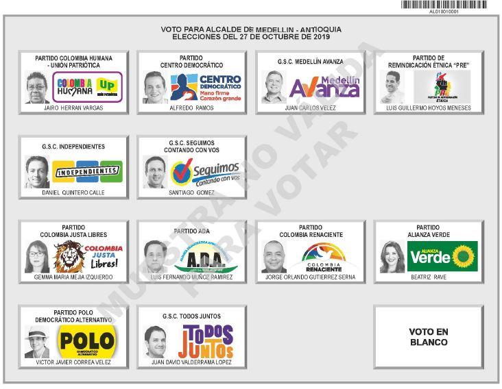 Así quedó el tarjetón de candidatos a la Alcaldía de Medellín