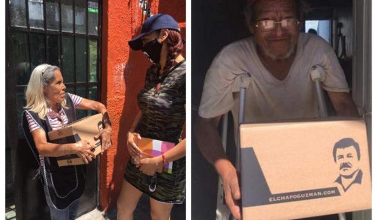 En México reparten ayudas en cajas con la cara del 'Chapo Guzmán'