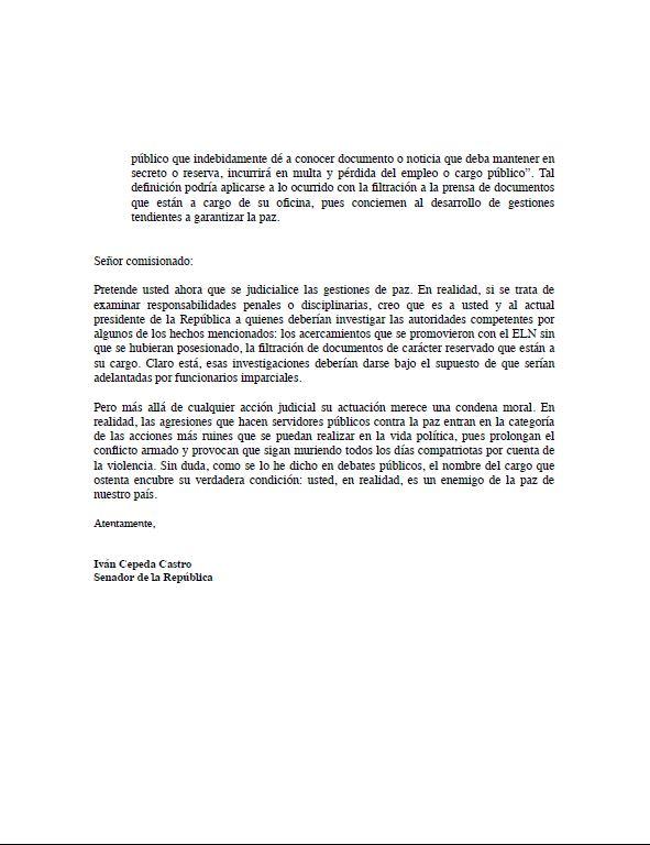 Cepeda a Miguel Ceballos