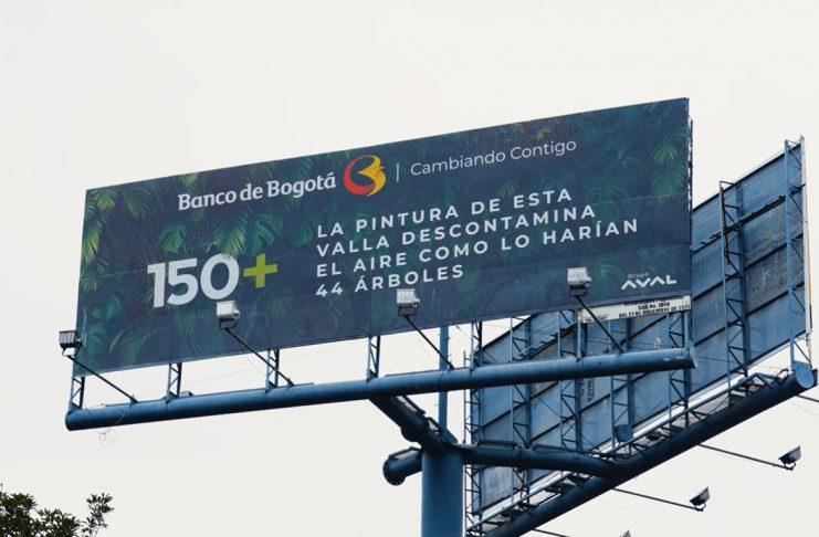 Las vallas del Banco de Bogotá que purifican el aire