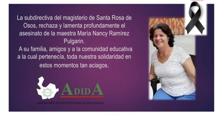 Santa Rosa de Osos está de luto por el asesinato de una docente